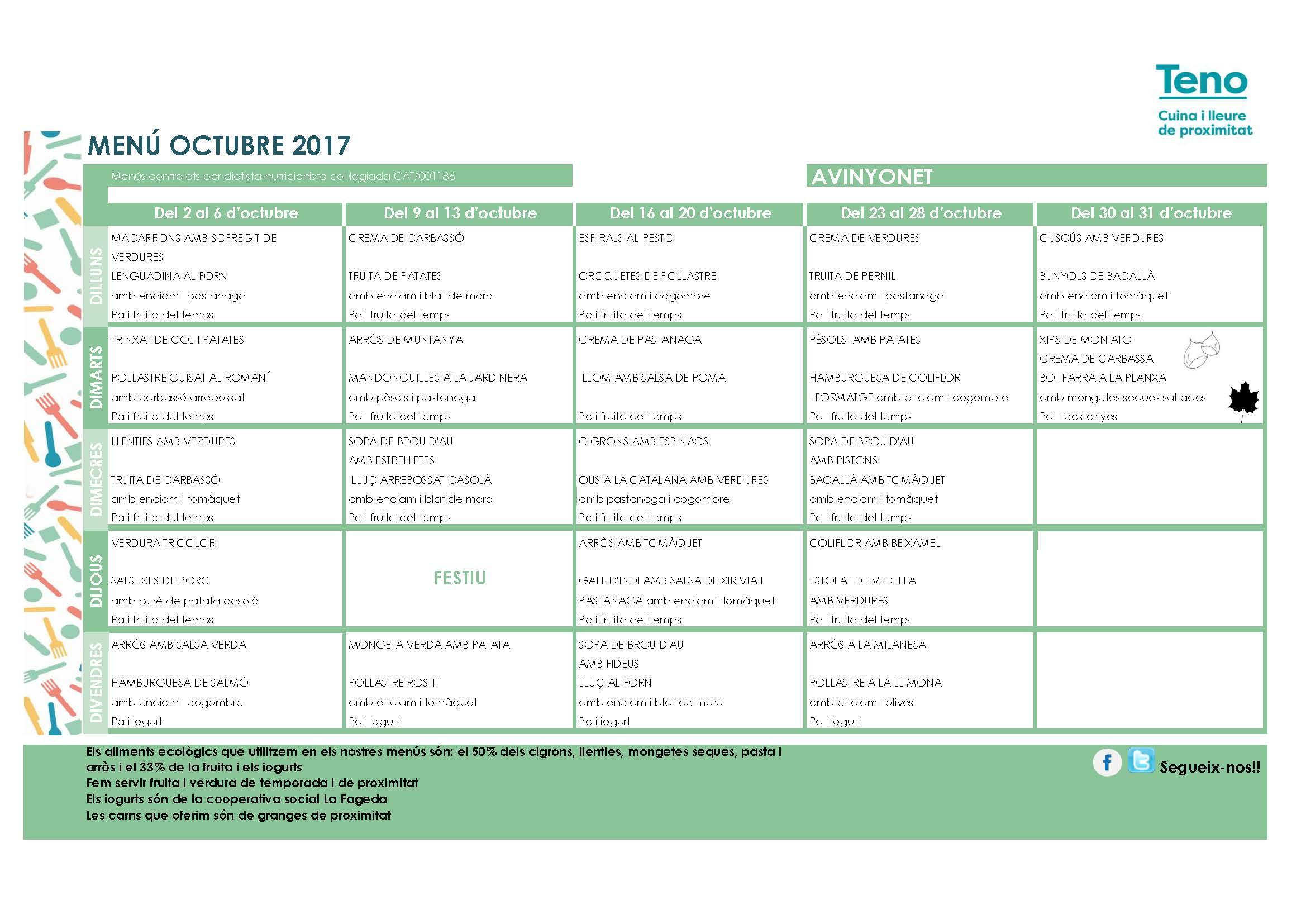 Calendari de menjador d'Abril i Maig
