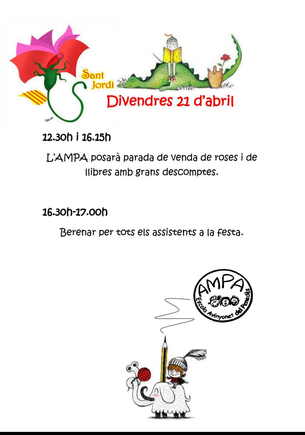 Divendres 21 d'Abril - Sant Jordi 2017 - AMPA Avinyonet